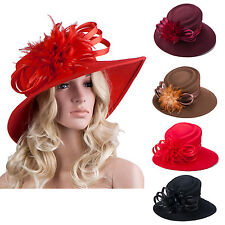 A256 Ladies Vintage Derby Formal Church Felt Wool Floppy Floral Wide Brim Hat