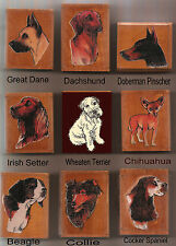 ASSORTED DOG WOOD MOUNTED RUBBER STAMPS, COLLIE, SPANIEL, BEAGLE, PINSCHER-NEW