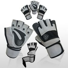 NEW WEIGHT LIFTING LEATHER GLOVES FITNESS GYM BODY BUILDING STRAPS WL-109