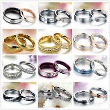 Set Wedding Ring Couple Ring Stainless Steel Love Ring Engagement Bands Matching