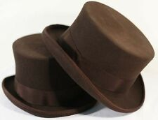 Steampunk-Victorian-Edwardian-Cosplay-Ripper Street-100% WOOLFELT BROWN TOP HAT
