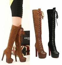 Sexy women stitching leather lace-up thick heel high-heeled over the knee boots