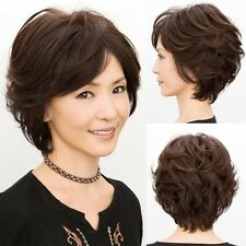 New Fashion Glamour Women Short Curly Wave Brown Hair Full Wigs Mom Olds Gift
