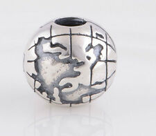 Sterling Silver 925 European Charm All Around The World Globe Clip Bead 99525