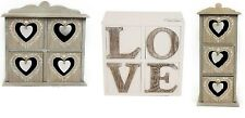 HEART RUSTIC JEWELLERY CHEST CABINET STORAGE WOODEN UNIT BOX FREE STANDING GIFT