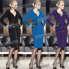 Womens Elegant Zip Long Sleeve Work Business Tunic Party Pencil Sheath Dress 128