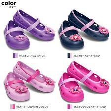 Crocs Kids Keeley Flower Flats Pink Purple size TODDLER Mary Janes Comfy Shoes