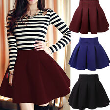 Women Vintage High Waist Stretch Short Plain Skater Flared Pleated Mini Skirt