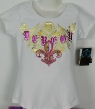 Beyonce Girls t shirt sz 6 White Gold & Fushia Foil with Diamontes Dereon Brand