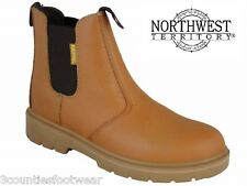 SAFETY DEALERS - STEEL TOE CAPS - TAN LEATHER WORK BOOTS - LIGHTWEIGHT  VAT FREE