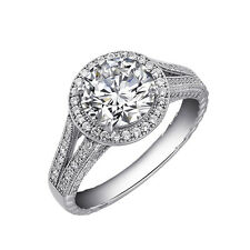 Ladies Engagement Ring .925 Sterling Silver Signity Diamonds Micro Pave