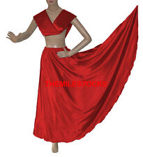 TMS RED Satin Skirt + Veil Set Belly Dance Costume Tribal Gypsy Dress JUPE