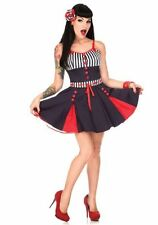 NEW VooDoo Vixen Vintage Sail With Me 50s Nautical Kick Pleat Swing Dress Sailor