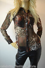 Karen Millen Snake Print Long Sleeve Contrast Collar Formal Shirt Top 10 - 12