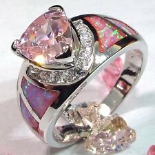 Size 6 - stunning Lab Created Pink or Blue Topaz & Fire Opal Ring
