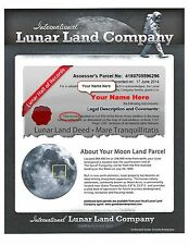 LUNAR LAND CERTIFICATE -- Buy Land On The Moon -- 1, 5 or 100 ACRES -- By MAIL