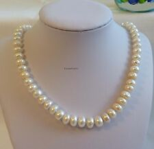 Genuine cultured freshwater 9-10mm oblate pearl necklace white/pink/purple L45cm