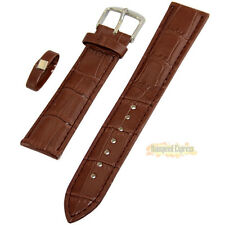 Men Flexible Genuine Leather Watch Band Strap Silver Tone Buckle For WristWatch