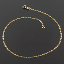 10K YELLOW 1.25mm FLAT MARINER LINK CHAIN ANKLET FREE SHIPPING FREE