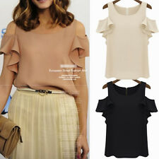 Chic Cut-out Frilled Sleeve Womens Blouse Shirt Top Exposed Zipper Solid Fashion