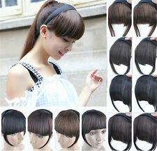 New Fashion Girls Clip On Front Hair Neat Bang Straight Fringe Hair Extension