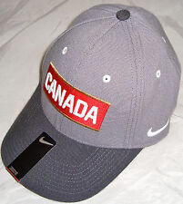 NIKE TEAM CANADA IIHF 2014 OLYMPIC HOCKEY GRAY/BLK/RED SWOOSHFIT DRI-FIT HAT CAP