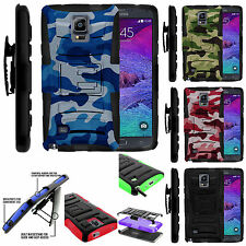 Samsung Galaxy Note 4 Rugged Hybrid Armor Heavy Duty Belt Holster Case Cover