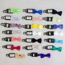 """New Varce Mens Coloured Deluxe Satin Thin Bow Tie - 2"""" (21 Colours)"""