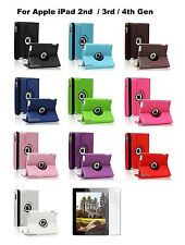 Blue 360 Degree PU Leather Cover Case Apple iPad 4 Retina display + Protector