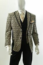 Men's 3 Piece High Fashion Paisley Design Modern Fit Suit Style HPS282V Ivory