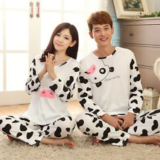 Bear Dot Print Long Sleeves Pajamas Set Cotton Sleepwear Shirt Pants For Lovers