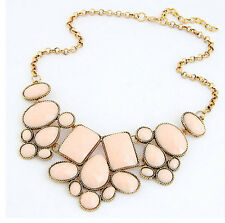 Popular Womens Resin Bubble Pendant Collar Chain Statement Multicolor Necklace