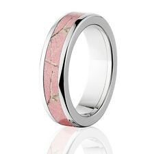 Official Licensed RealTree Pink Camouflage Titanium Rings, Ladies Camo Bands