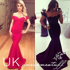UK Sexy Women Long Prom Ball Cocktail Party Dress Formal Evening Gown Size 6-14