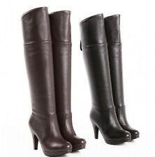 Women's Shoes Synthetic Leather High Heel Zip Over Knee Boots US All Size Plus