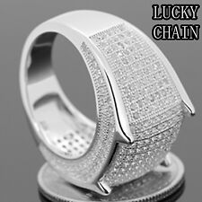 MEN`S 925 STERLING SILVER ICED OUT LAB DIAMOND RING/15g/N41
