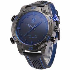U.S.A Shark Big Case Analog Digital LED Date Day Army Quartz Mens Sport Watch