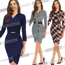 Womens Elegant Houndstooth Tunic Work Cocktail Party Pencil Sheath Dress 352