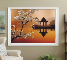 BLACKOUT PHOTO ROLLER BLINDS, PICTURE BLINDS CHERRY TREE OVER WATER