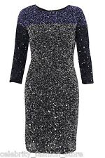French Connection Black Silver Border Sequin Dazzling Evening Party Dress 6 - 12