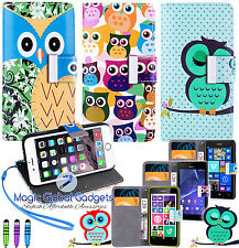 CARTOON OWL MAGNETIC LEATHER FLIP BOOK WALLET CARD CASE COVER WITH MEDIA STAND