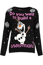 NEW Womens Ladies Ugly Christmas Sweater Snowman Size S M L XL BLACK