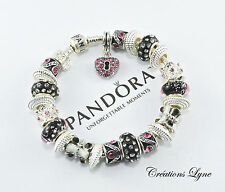 Authentic PANDORA Sterling Silver 925 Charm Bracelet With Box- Hearth (P-22)
