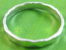 """925 sterling silver """"THICK & SOLID"""" FLAT 3mm HAMMERED wedding band Ring BOY GIRL"""
