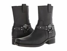 68153 Black Mark Nason Finley Boot Men New Soft Leather Cross Strap Studs Zipper