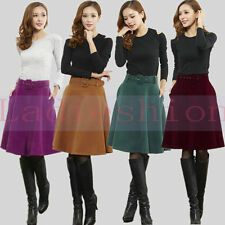 Vintage Women Girl Winter Slim Zipper Waist Pocket Skirts Belt Wool Puff Skirt