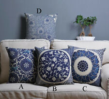 Cotton/Linen Cushion Cover Shell Throw Pillow Case blue China flower floral 1 pc
