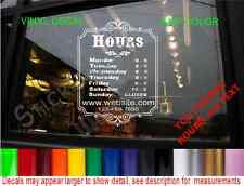 STORE HOURS WINDOW sign DECAL BUSINESS SHOP bakery cafe salon garage