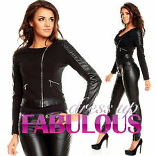 NEW WOMENS JACKET Size 6 8 10 12 TOP CLOTHING OUTERWEAR FAUX LEATHER PATCHES
