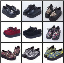 HARAJUKU style women's shoes vintage lace up flower print creepers flats shoes